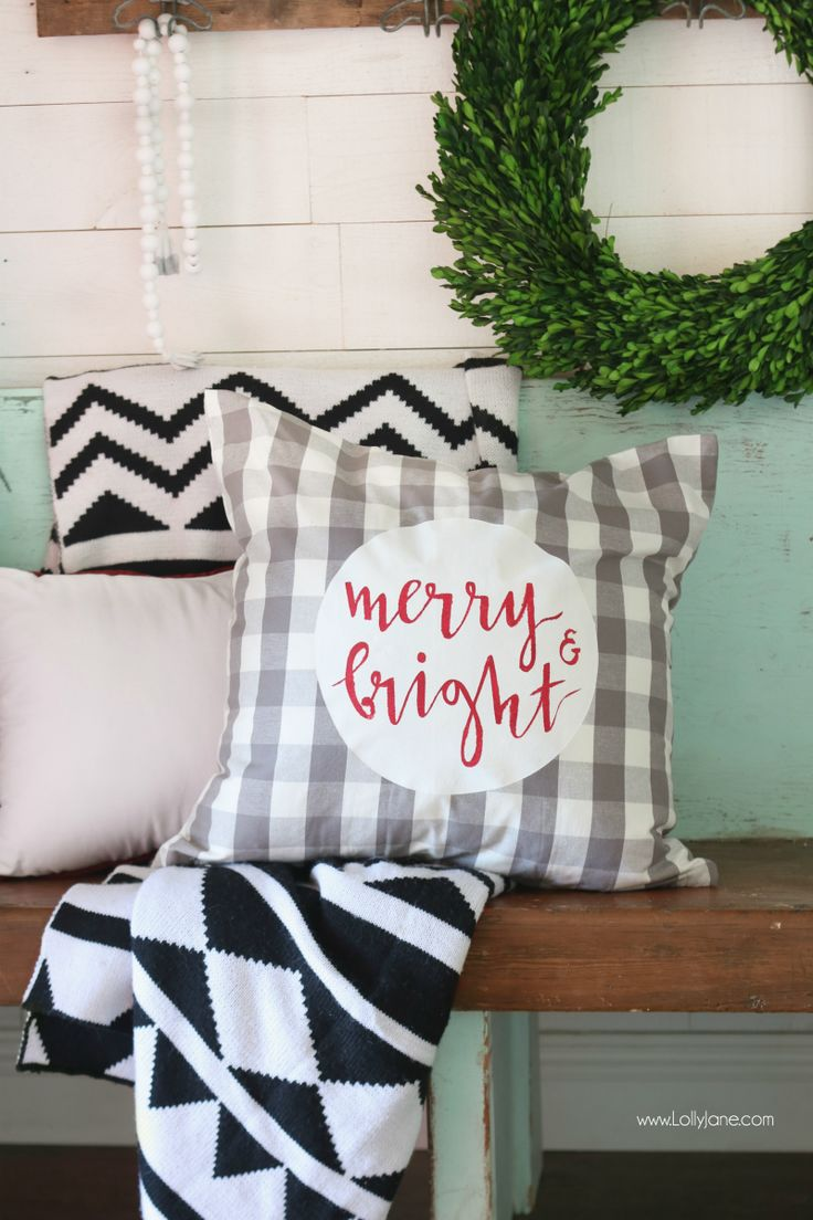 merry & bright Christmas pillow cover tutorial