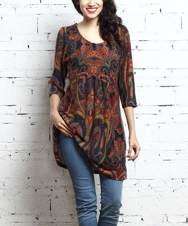 Love this Brown Paisley Empire-Waist Tunic on #zulily! #zulilyfinds