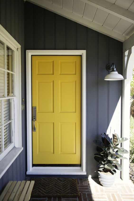 Yellow Door pops against this grey exterior.  Love it! Please call NEXT for all of your window and door needs. 630-590-1201