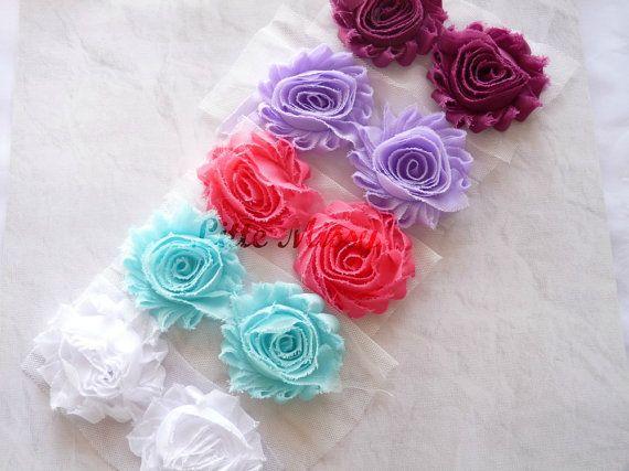 10 Shabby CHIFFON FLOWERS Chiffon Flowers by LittleMissySupplies