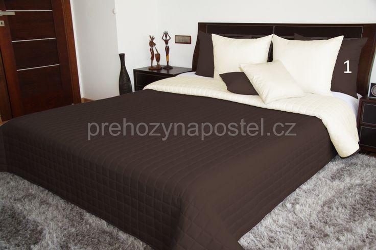 Luxusní a moderní oboustranné hnědé přehozy na postel
