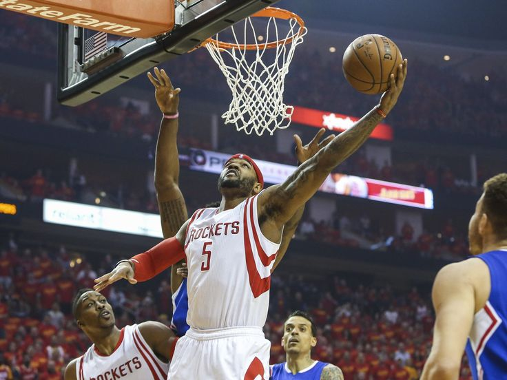 Game 7 in Houston: Rockets vs. Clippers — Houston forward Josh Smith (5) puts in a first-half bucket.  Troy Taormina, USA TODAY Sports