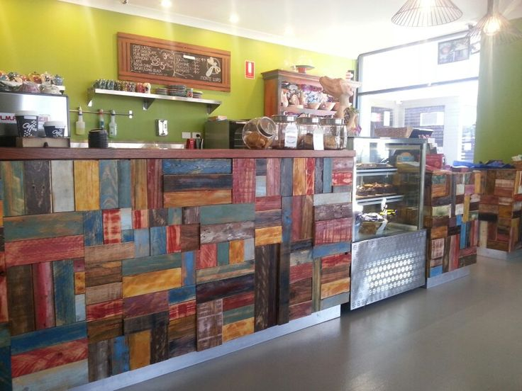 Recycled timber counter - Monte Lupo cafe