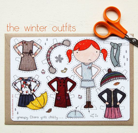 Clara Paper Doll, Dress-Up Doll - The Winter Outfits - Postcard Paper Toy