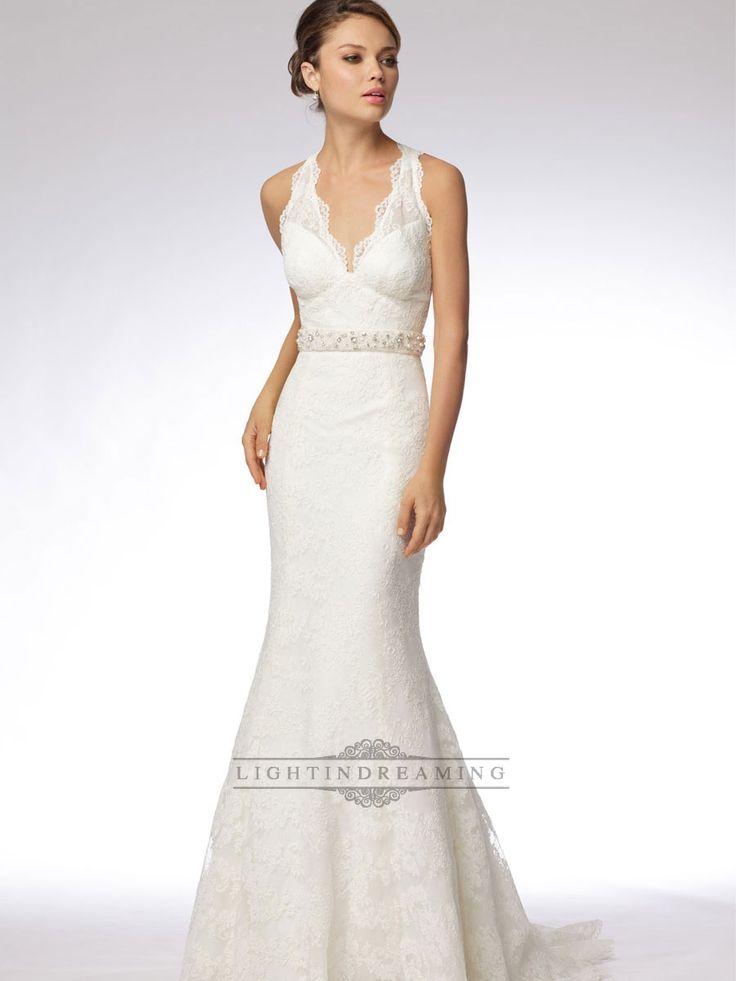Great Trumpet Embroidered Lace Halter V neck Wedding Dress with Keyhole Back