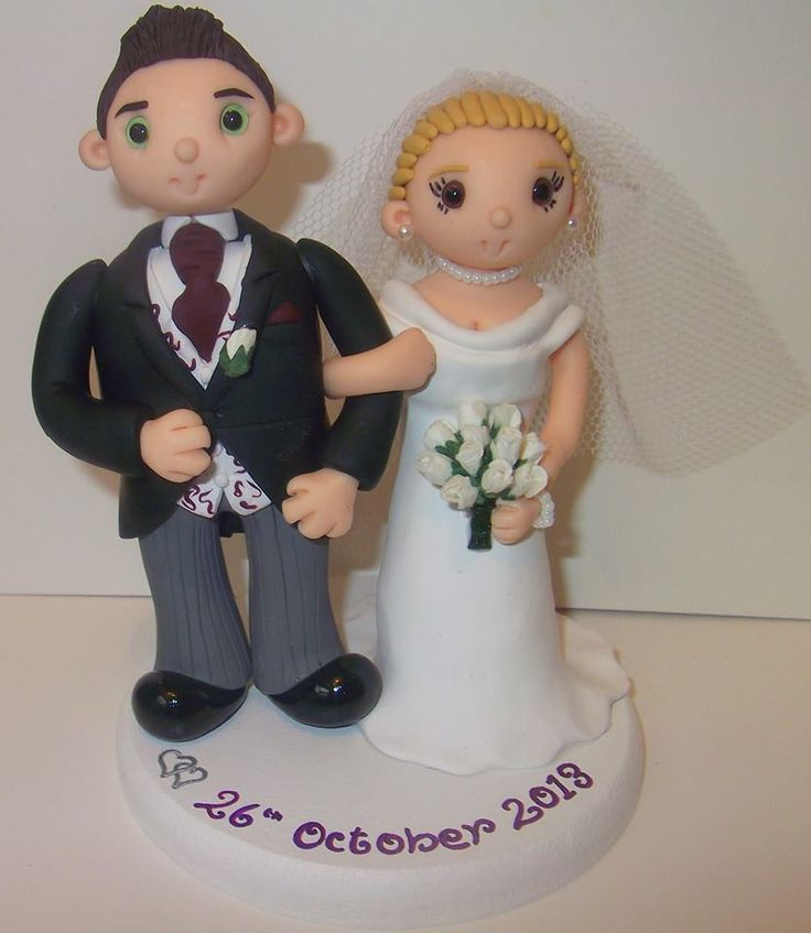 Bride & Groom wedding cake topper by Tinylove Toppers   http://www.tinylove-wedding-cake-toppers.co.uk/