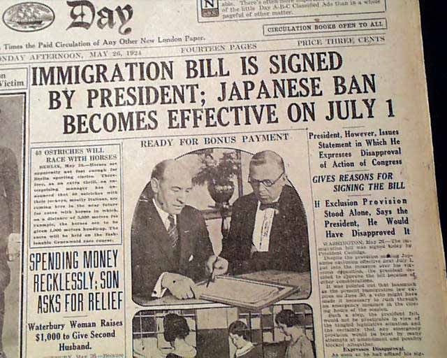 Immigration Act of 1924 signed... - RareNewspapers.com