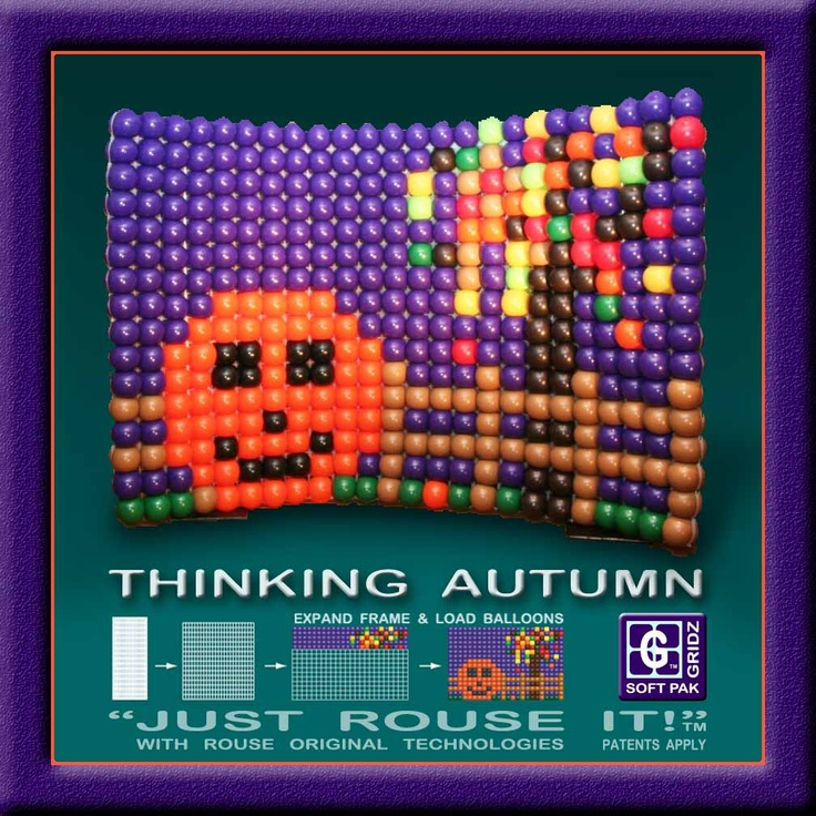"""THINKING AUTUMN   ---   This Halloween mural from last fall (2011) at the Balloonsitute Convention in Detroit, Michigan USA helped introduce autumn and the new square grid """"GRIDZ"""" brand balloon frames used for the project.   --- Read more at https://www.facebook.com/photo.php?fbid=410179642352663=a.264220816948547.56142.141718105865486=1  #MadeWithBalloons /  -- VISIT http://JustRouseIt.com/RED to learn  tools and skills to BUILDYOUR OWN #balloonart,  at RouseED™ #BalloonGrids™ Seminars."""