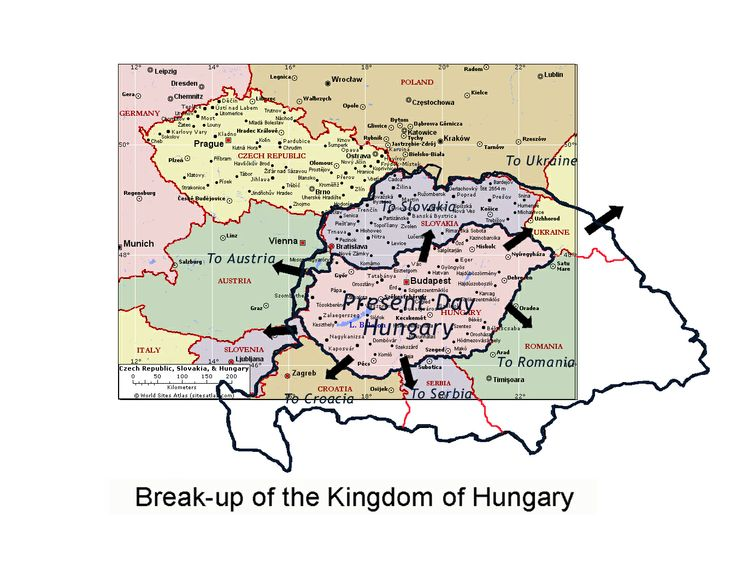 Breakup of Hungary 1945 - Hungary emerged devastated from the First World War. The Austro-Hungarian Empire collapsed in 1918 and Hungary was compelled to sign the Treaty of Trianon by which she lost two-thirds of her historic territory, one-third of her Magyar population and two thirds of her total population. It was the greatest blow suffered by Hungary since her defeat by the Turks in 1526.