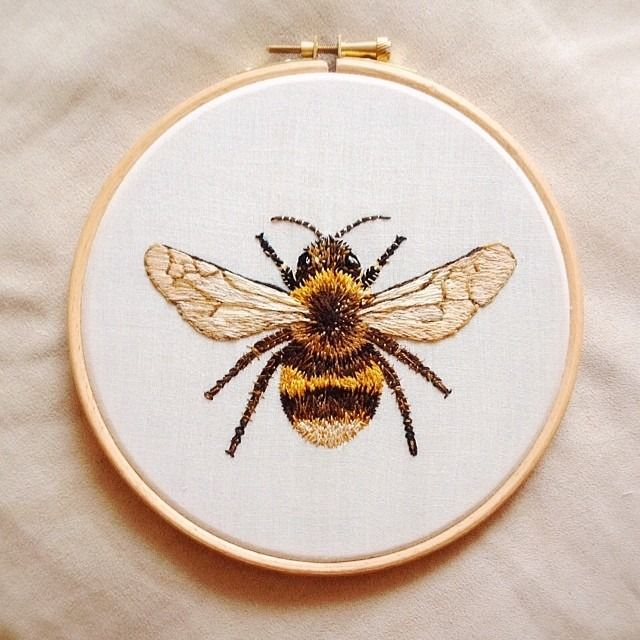 An embroidered honeybee. very realistic yet beautiful and highly effective