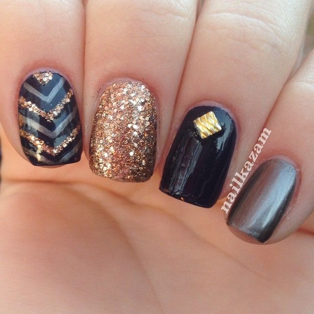 Best 20+ Black Gold Nails Ideas On Pinterest