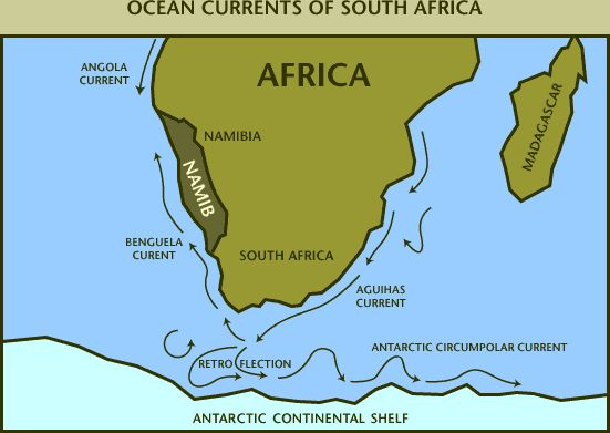A Map Showing Ocean Currents In Southern Africa Notes For Revision