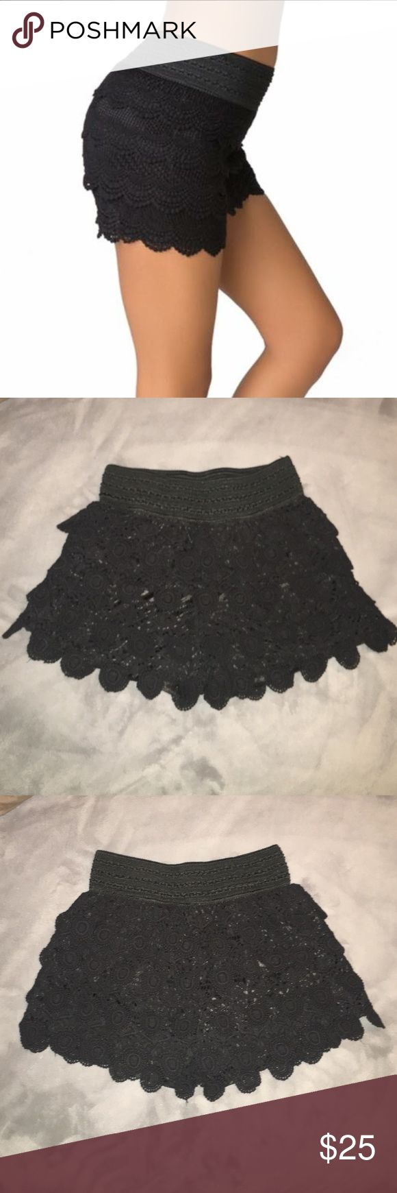 Black Crocheted Shorts Beautiful crocheted shorts in black! These shorts can be worn with boots or heels &/or lounge in your favorite flats! Original Piece Shorts