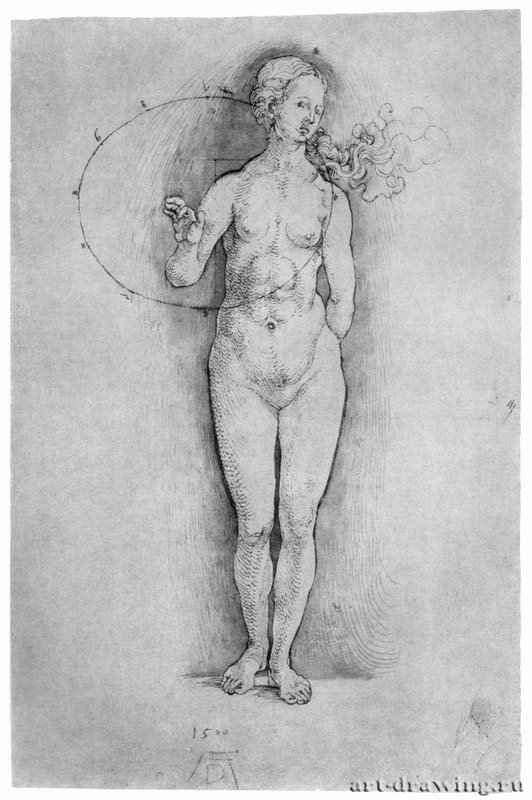 Обнаженная 1506 - 32,6 x 21,8 Перо, ретушь зеленым на фоне и фигуре, на бумаге Британский музей, Отдел гравюры и рисунка Лондон
