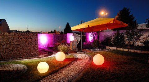 Bola com luz branca para iluminação/decoração de jardim. Ideal para aplicação jardins, terraços. Também usado para decoração de interiores.