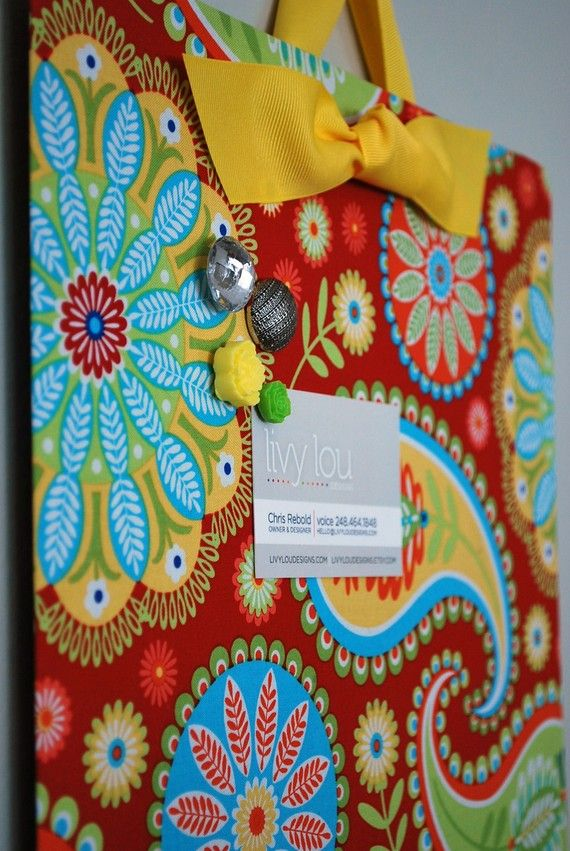 DIY Message board - A baking pan wrapped in fabric!