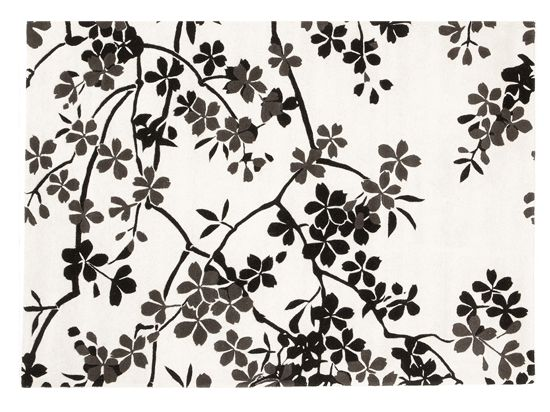 """Dania -Black & white floral Rosono rug is 100% wool, hand-tufted. - 5'6"""" W x 7'9"""" - $400"""