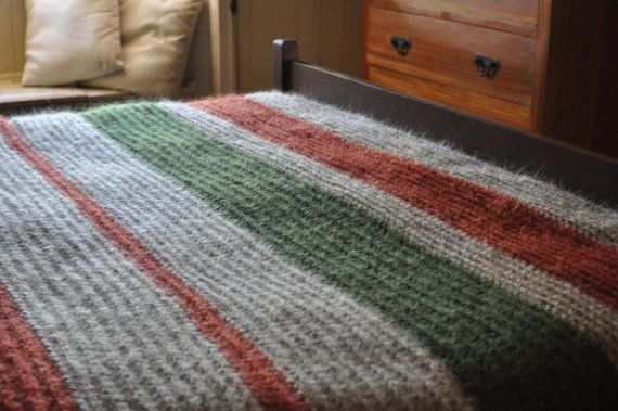 Hand knitted mohair blanket to fit queen or double bed by KororaCrafters