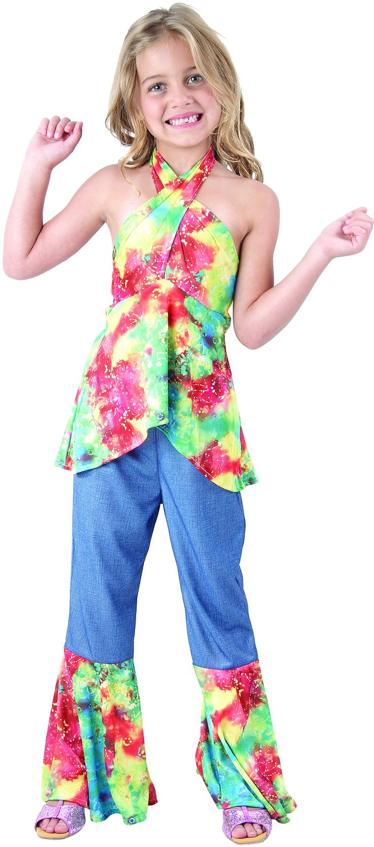 This colourful hippie costume for girls will be perfect as a fancy dress costume for your sixties hippie parties! - Now available at Vegaoo!