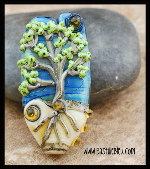 silver ivory tree of life focal bbl handcrafted lampwork glass beads sra blue silver glass