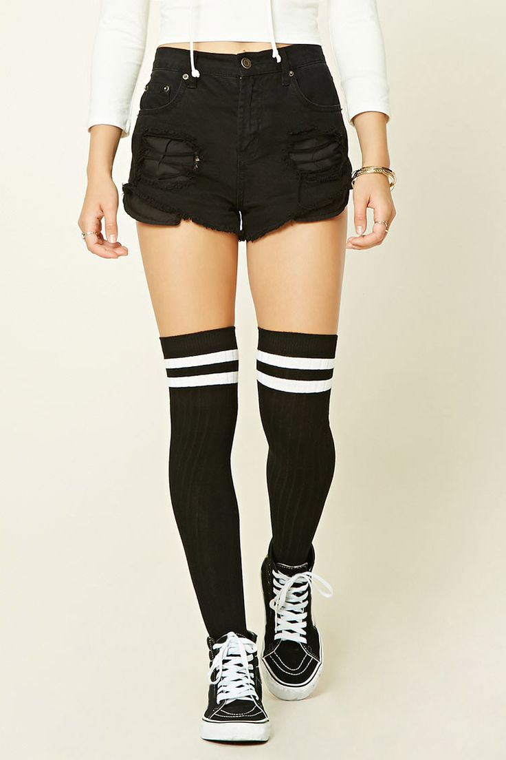 A pair of ribbed knit over-the-knee socks with a varsity stripe.