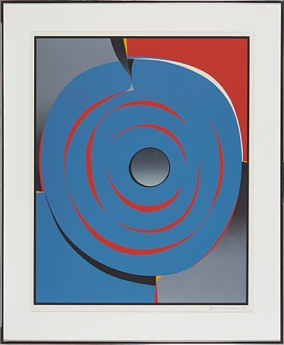 GUNNAR S. GUNDERSEN FORDE 1921 - BÆRUM 1983  Blue circle composition  Fargeserigrafi, 66x53 cm  Signed lower right: Gunnar S.