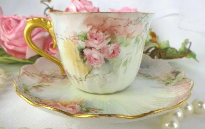 Antique Limoges Cup Saucer Hand Painted Coral Pink Tea Roses