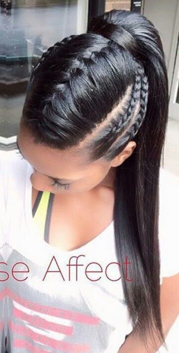 Outstanding 1000 Ideas About Braided Ponytail Hairstyles On Pinterest Short Hairstyles For Black Women Fulllsitofus