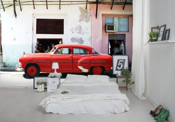 Fototapeta Czerwony Samochód - Kuba