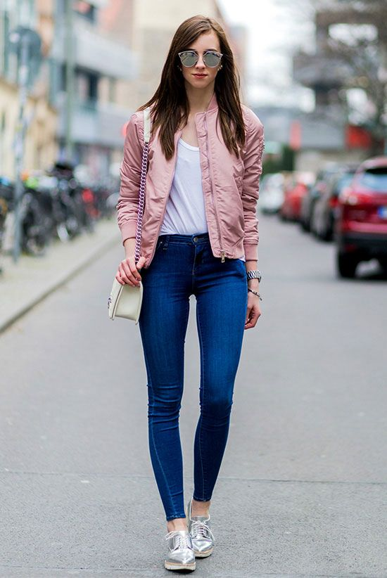 spring outfit, fall outfit, comfy outfit, casual outfit, street style, spring fashion, fall fashion - pink bomber jacket, white t-shirt, skinny jeans, metallic shoes, silver shoes, silver oxfords, silver mirror sunglasses