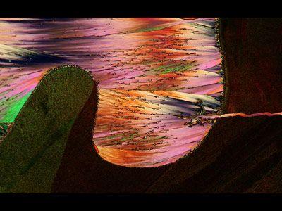 Image of Distinction, 2010  Dr. John Hart    Hart3D Films and Dept. Atmospheric and Oceanic Sci. Univ. Colorado, Boulder  Boulder, Colorado, USA    Crystallized melt mixture of sulfur, resorcinal, dibenzofuran (33x)    Polarized light - Learn more