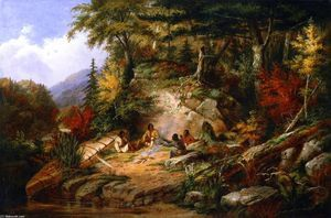 Indianos do Chippewa no Lago Huron, óleo sobre painel por Cornelius David Krieghoff (1815-1872, Netherlands)