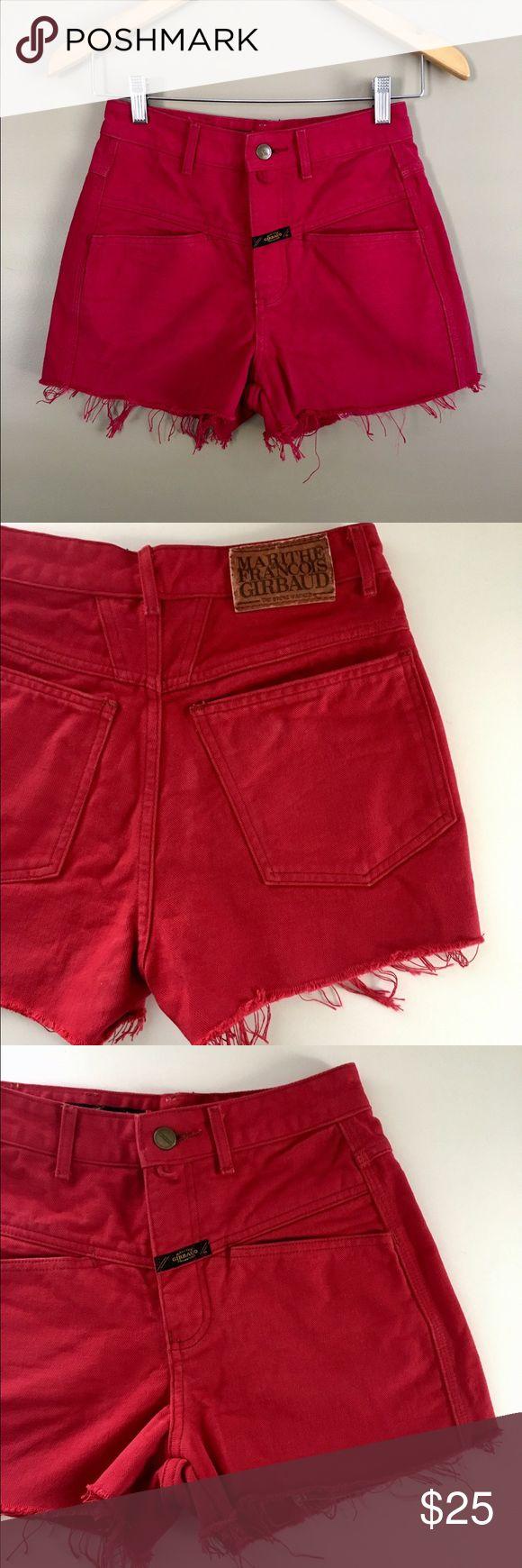 Vintage Girbaud Deep Red Denim High Rise Shorts High rise vintage 80s Marithe Francois Girbaud red jean shorts. Yolked waistline adds western flair. Perfect pair of shorts. Size 1/2. Girbaud Shorts Jean Shorts