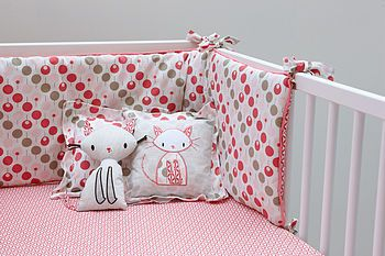 Cot Bumper Set In A Pink Lollipop Print - Crux Baby