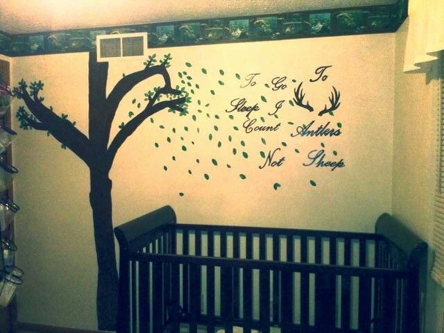 The crib area before matress and bedding in my hand painted baby boy nursery