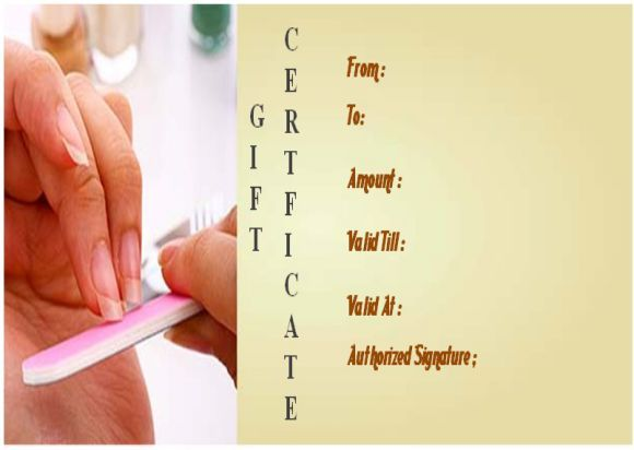 Nail Salon Gift Certificate Templates Salon Gift Certificate