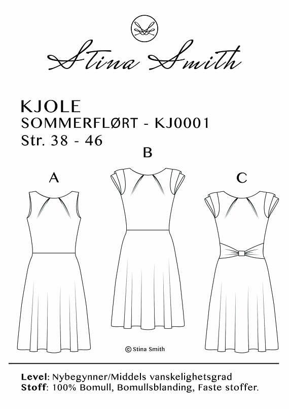 Norsk  Dette er en PDF-fil av min nye Sommerflørt kjole, i størrelse 38 - 46. Det inneholder mønster til kjolen, men for flere varianter kan man velge å ha ermer og/eller en sløyfe rundt midjen. Ved betaling får du tilgang til PDF-filene som du selv printer ut på en vanlig printer og taper sammen. Vær oppmerksom på å printe i virkelig størrelse og med farge, da de forskjellige størrelsene har hver sin fargekode. Beskrivelse på Norsk er inkludert. Stina Smith Design mønster er utviklet av...