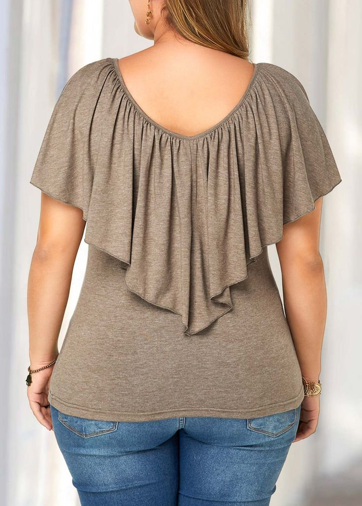 Short Sleeve Overlay Plus Size Blouse | modlily.com - USD $24.17 17