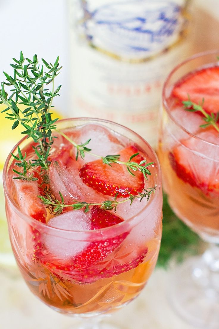 Strawberry Thyme Lillet Spritz