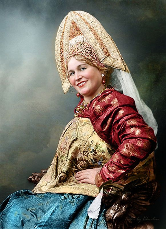 Woman in russian traditional dress