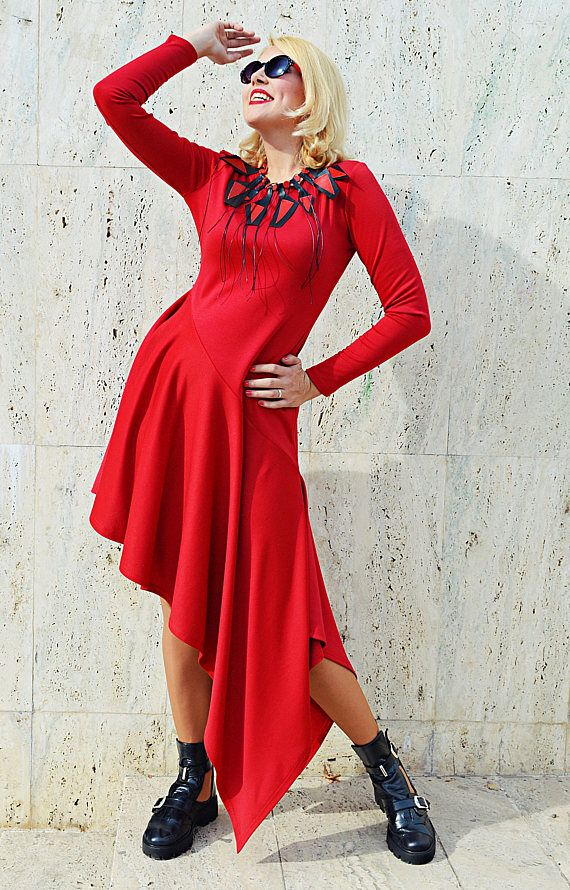 Red Jersey Dress  Asymmetrical Jersey Dress Extravagant
