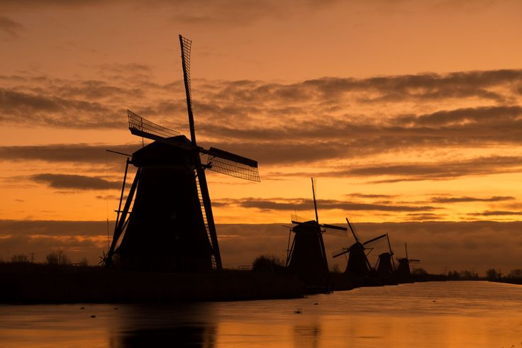 A group of windmills in Kinderdijk, Holland - Orange, Windmill