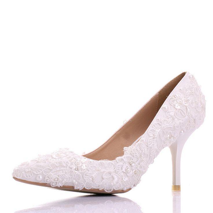 chaussure mariage en dentelle broderie blanche escarpin de mari e pas cher talon aiguille. Black Bedroom Furniture Sets. Home Design Ideas