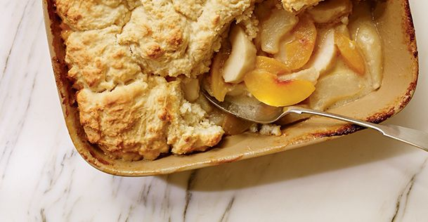 Lots of nice BC fruit available now for this Tree Fruit Cobbler and Brie Recipe. #bosafoods