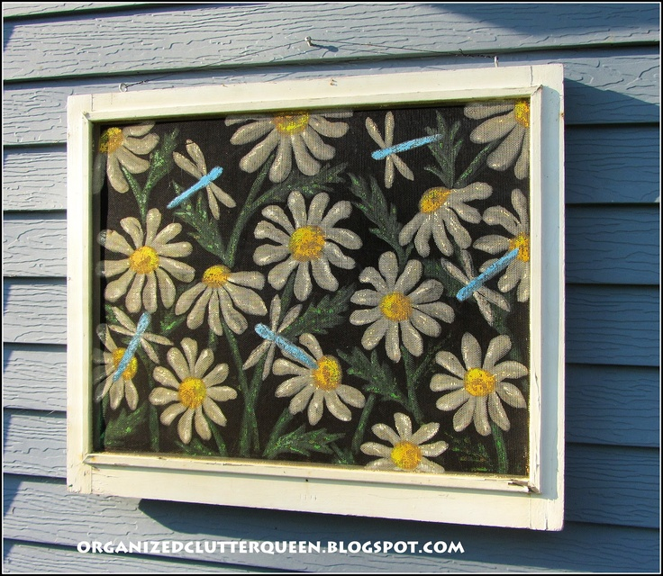Organized Clutter: Daisies and Dragonflies painted on an old window screen.
