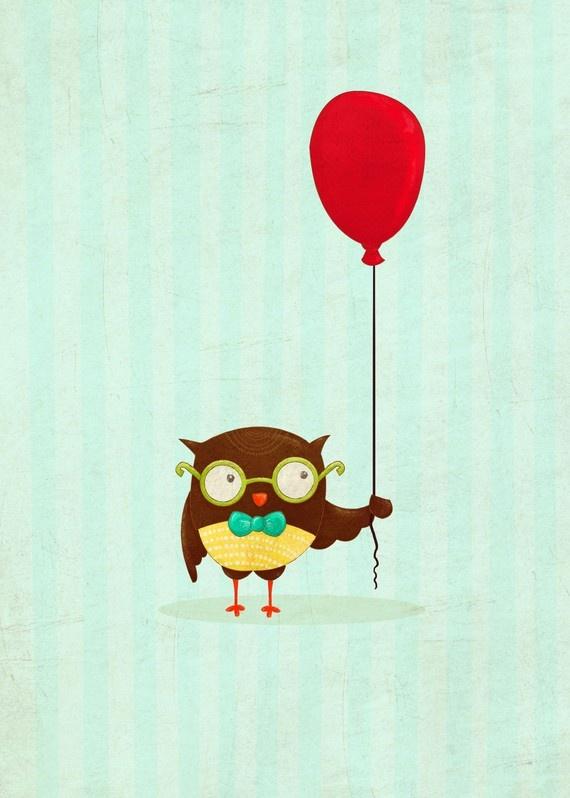 cute owl art  Owl and Balloon Print  by TheFoxandTheTeacup on Etsy, $10.00