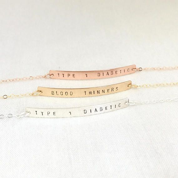 Type 1 Diabetic Bracelet, Custom Medical ID Bracelet, Allergic Bracelet, Type 1 Diabetes Bracelet, Insulin Dependent Bracelet, ID Jewelry Please be sure to leave message in the note box at checkout. Available in 14K Rose Gold Filled, 14K Gold Filled and Sterling Silver Specification .