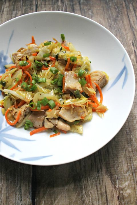 Paleo Egg Roll Bowl (omit oil and aminos) (add protien)