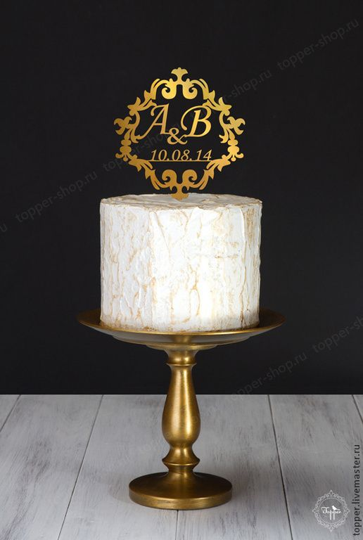 Купить Топпер на торт из цветного акрила с инициалами, буквы на торт - черный, топпер, верхушка на торт