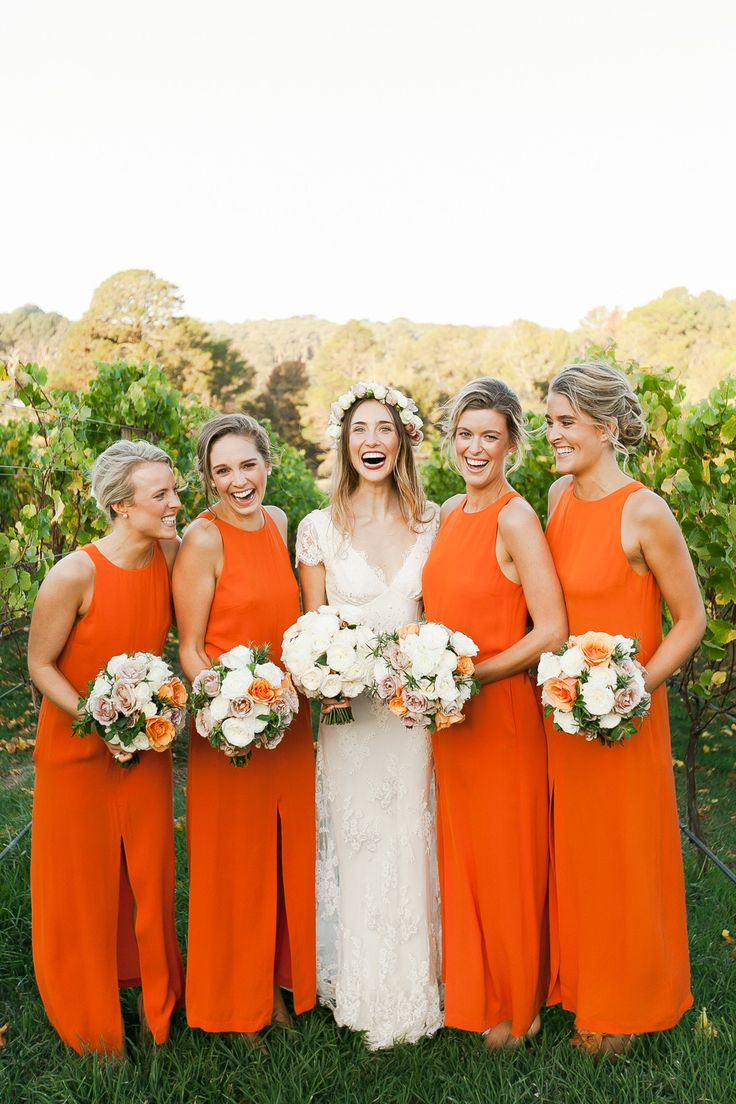 bridesmaid dresses in modern orange! // #wedding: Modern Wedding Bridesmaid, Bridesmaid Dresses Orange, Bright Bridesmaid Dresses, Dresses Style, Orange Bridesmaid Dresses, Modern Bridesmaid Dresses, Orange Bridesmaids, Colors Palettes, Summer Bridesmaid Dresses
